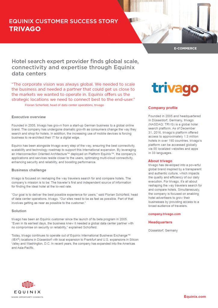 , Whitepapers, Equinix Customer Success Story: trivago