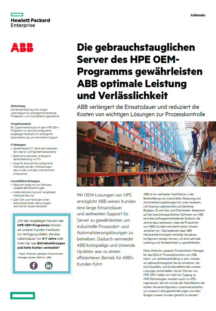 German Case Study for HPE OEM showing ABB