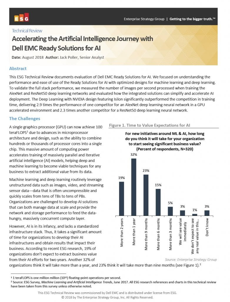 , , Accelerating the Artificial Intelligence Journey with Dell EMC Ready Solutions for AI