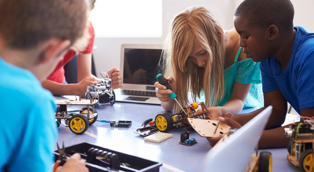 STEM Skills shortage - students studying robotics