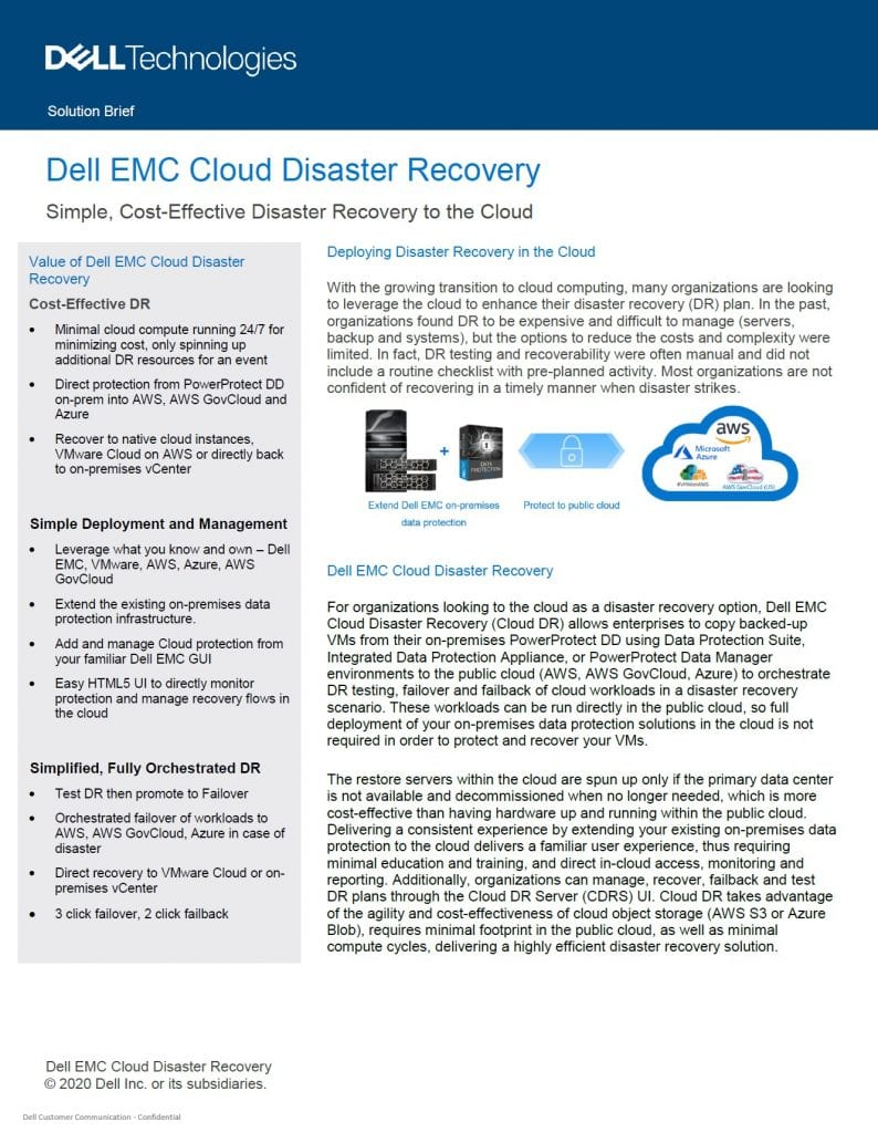 , , Dell EMC Cloud Disaster Recovery