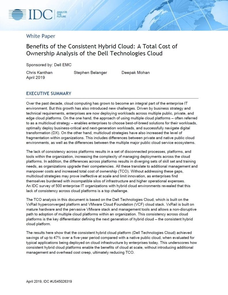 , , Benefits of the Consistent Hybrid Cloud: A Total Cost of Ownership Analysis of the Dell Technologies