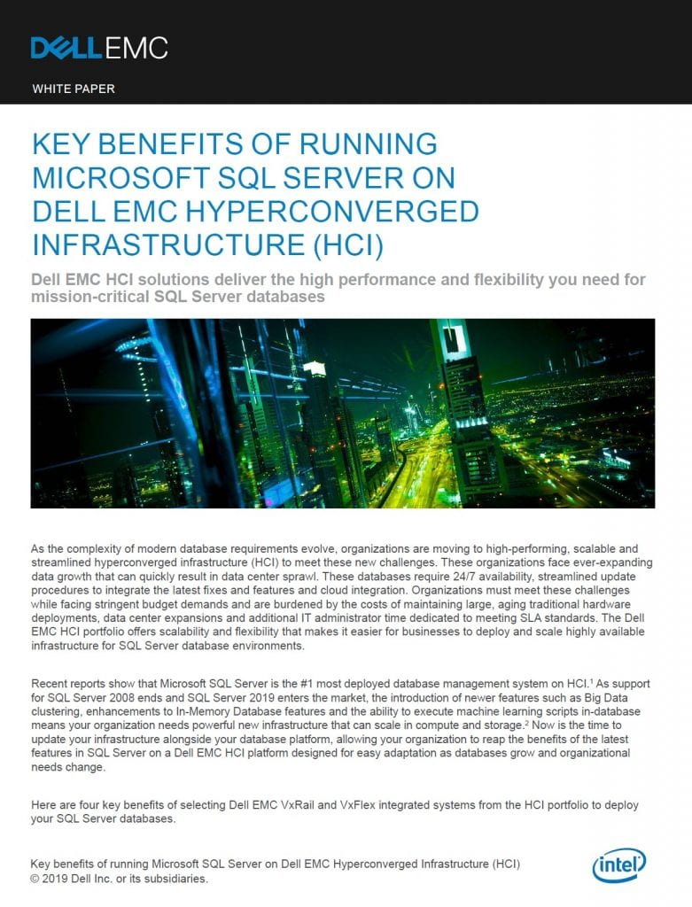 , , Key Benefits of Running Microsoft SQL Server on Dell EMC Hyperconverged  Infrastructure (HCI)