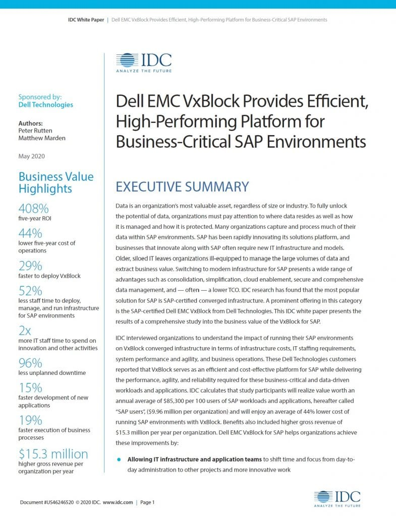 , , Dell EMC VxBlock Provides Efficient, High-Performing Platform for Business-Critical SAP Environments