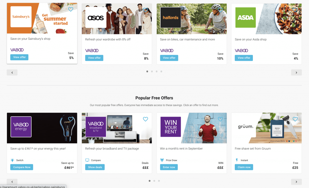 Screenshot of discounts available in vaboo