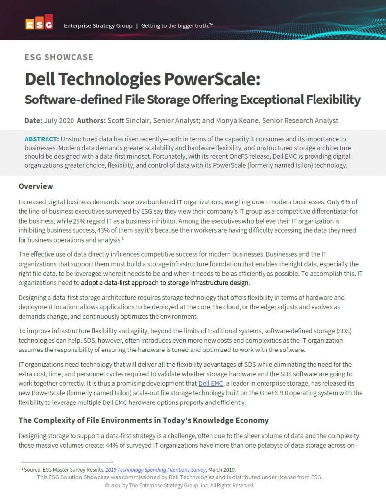 , , Dell Technologies PowerScale: Software-defined File Storage Offering Exceptional Flexibility